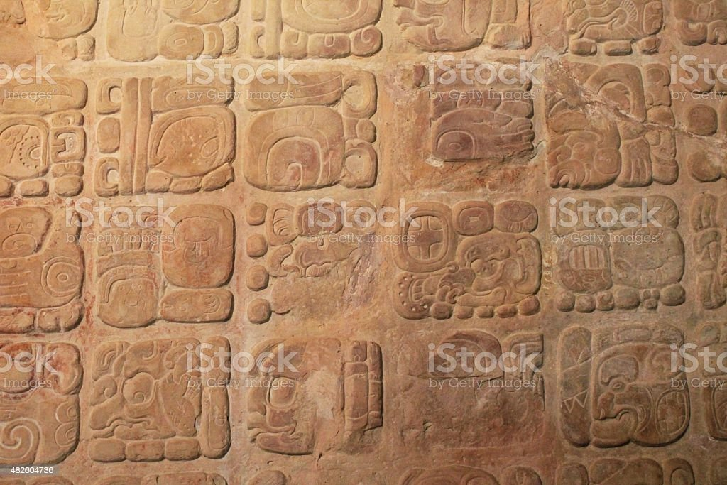 Carved stone hieroglyphs at Palenque, Mexico stock photo