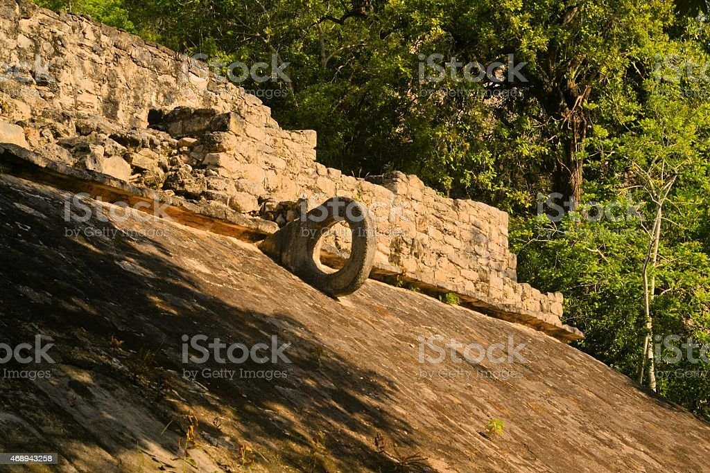 Carved stone hoop at Great Ball Court, Coba, Mexico stock photo