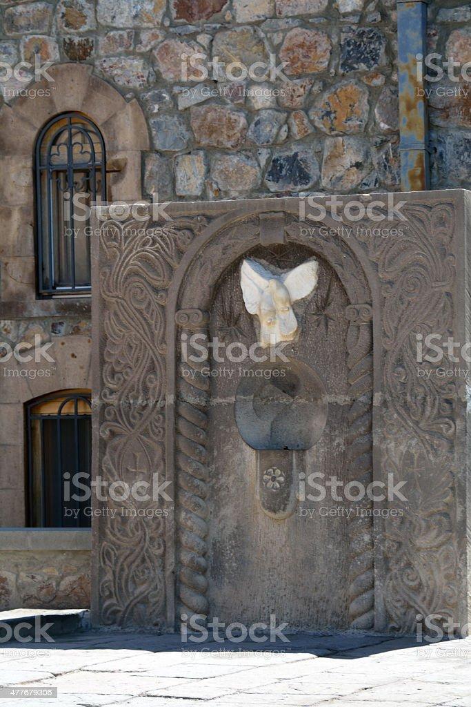 Carved stone symbol stock photo