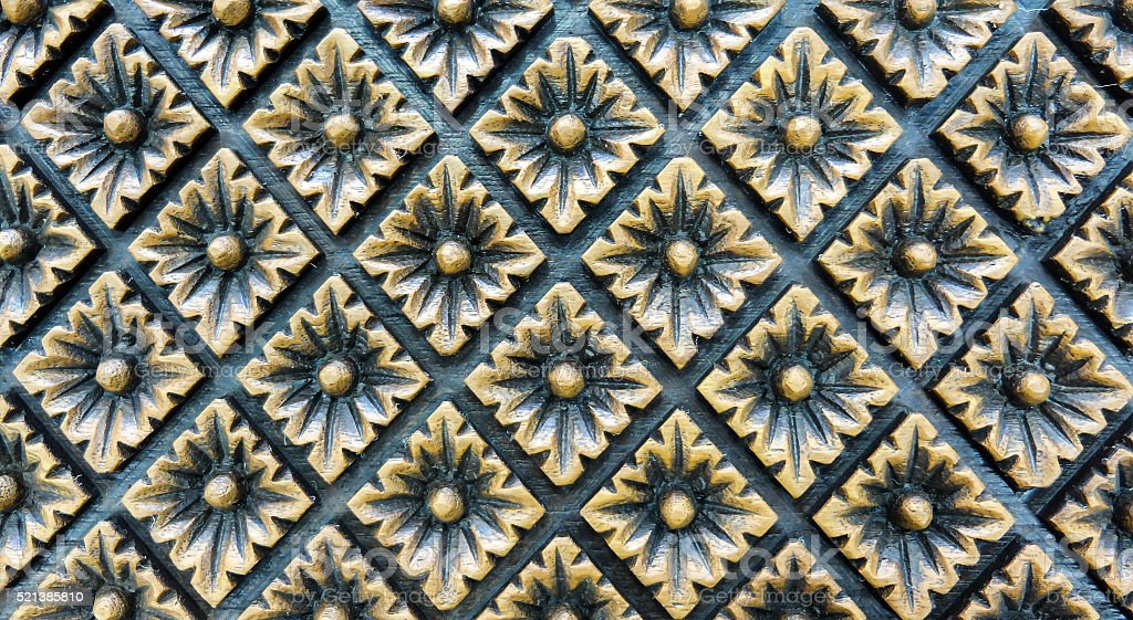 Carved Vintage Style Floral Pattern on Wooden Background Texture stock photo