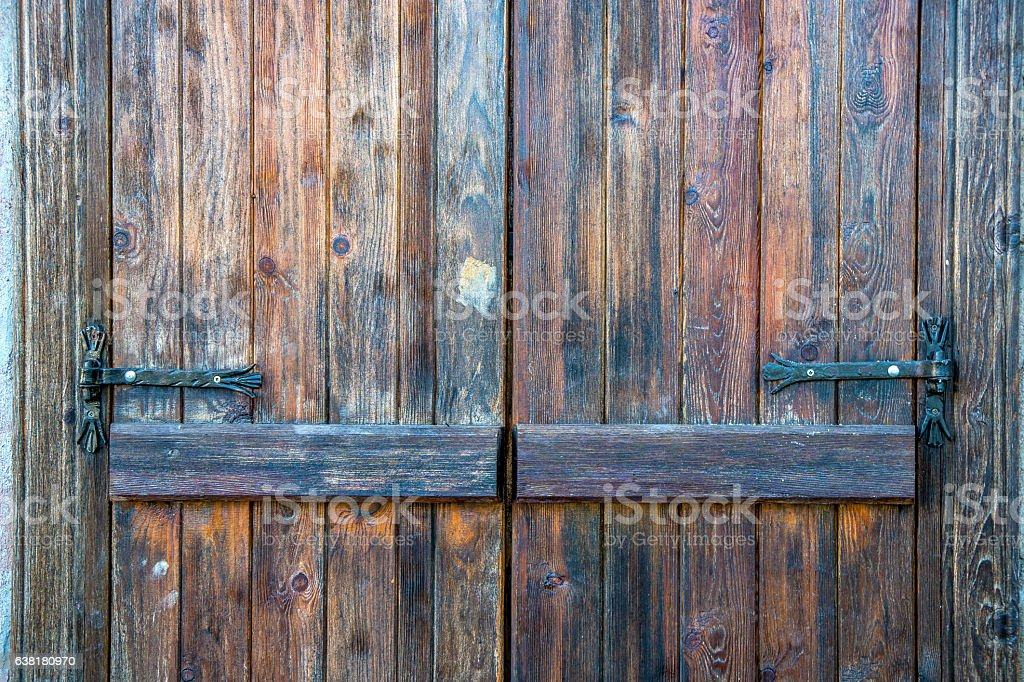 Carved wood door stock photo