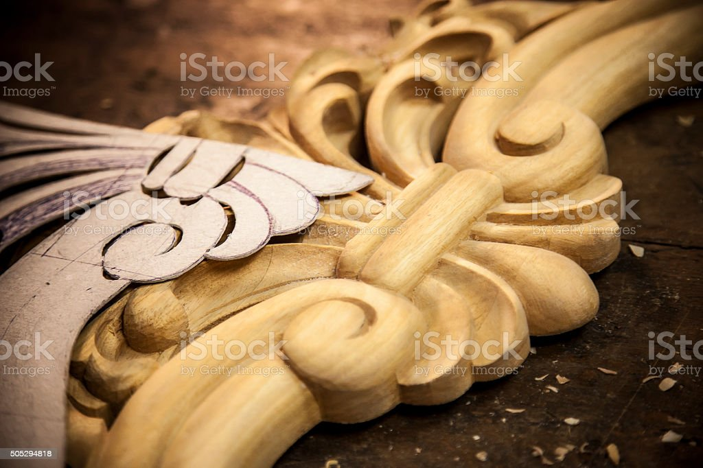 Carved wood frame stock photo