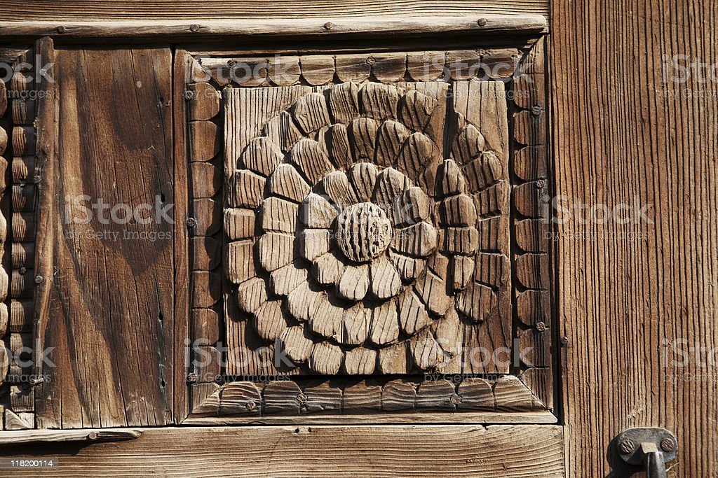 Carved Wood Panel Door detals royalty-free stock photo