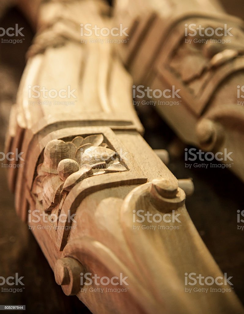 Carved wood stock photo
