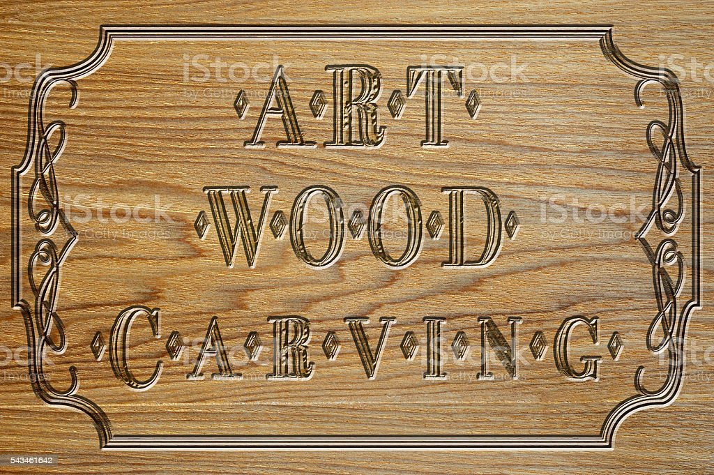 carved wood plate of art carving stock photo