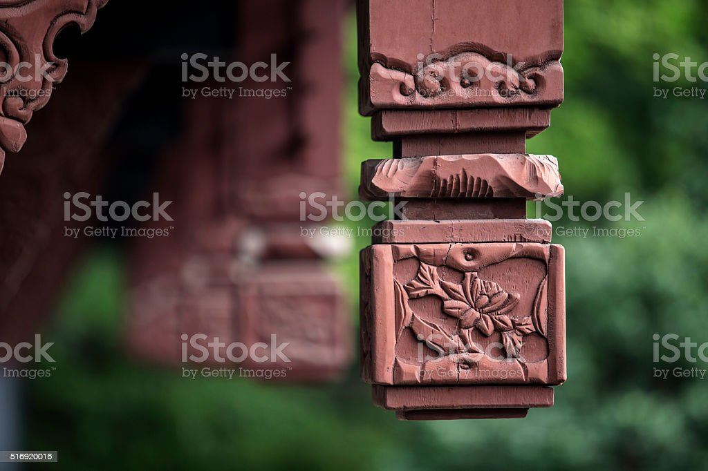 carved wooden bracket of Chinese architecture stock photo