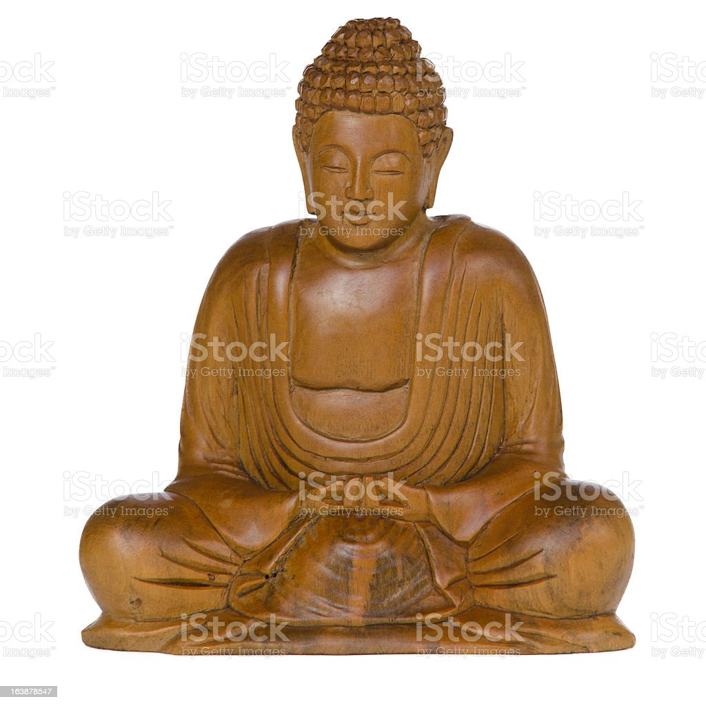 Carved Wooden Buddha on white background. royalty-free stock photo