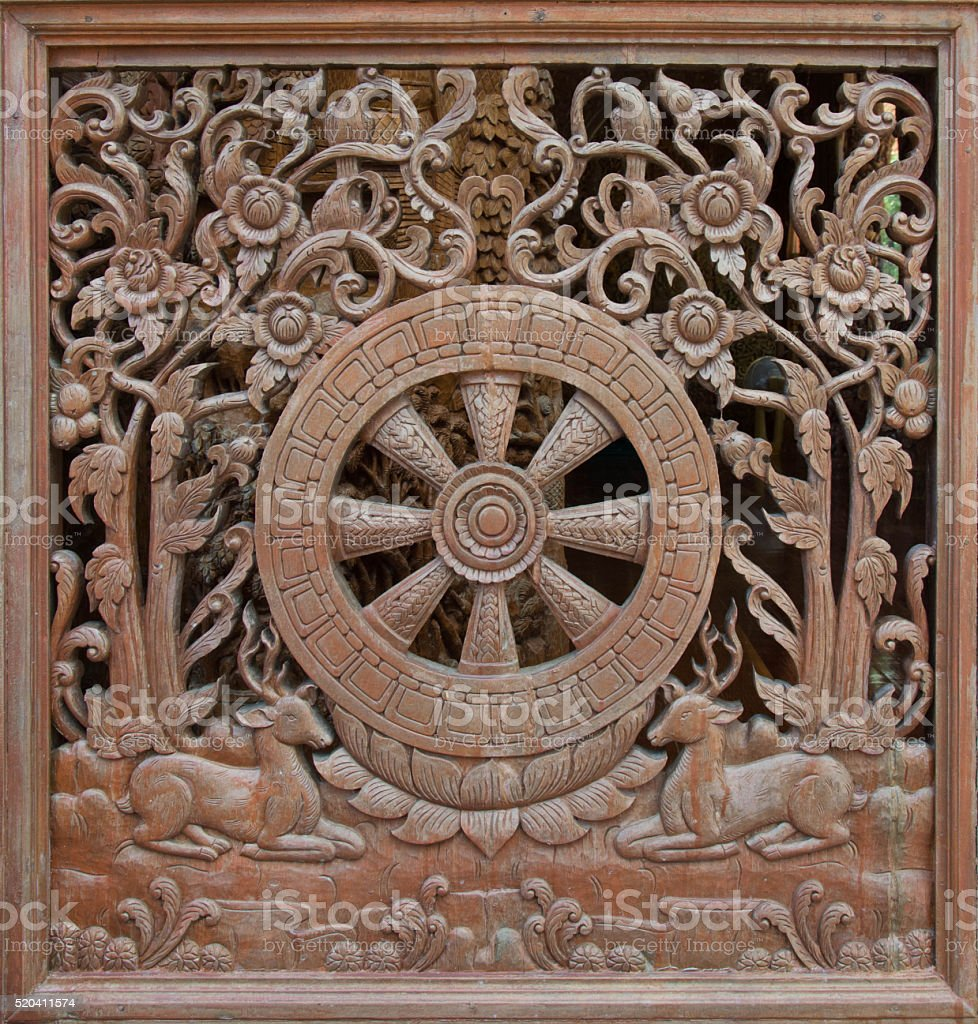 Carved wooden latticework with pattern of Dhammajak stock photo