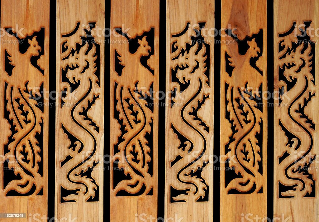 Carved wooden wall royalty-free stock photo