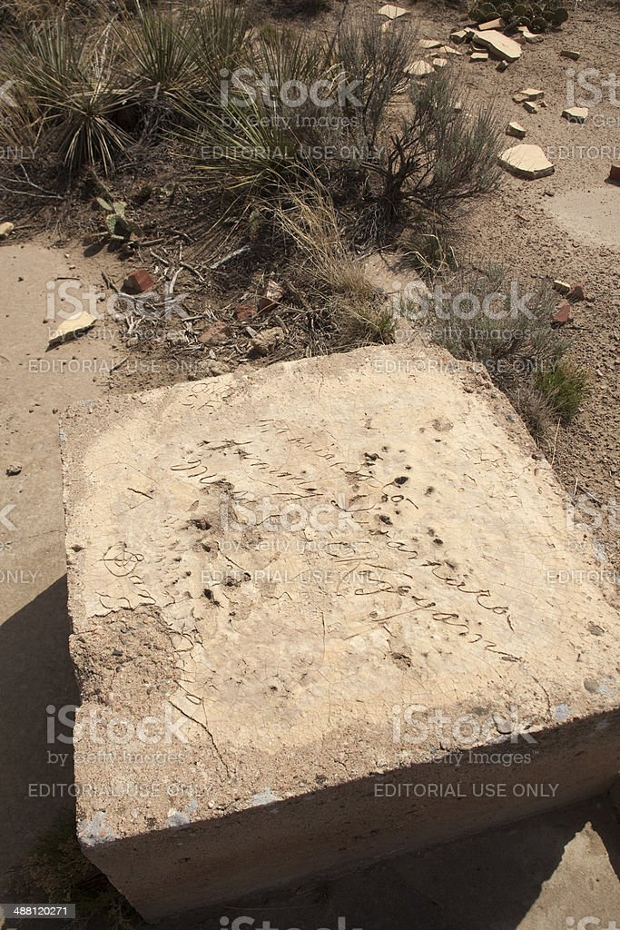 Carved World War II Japanese-American names Relocation Center Colorado stock photo