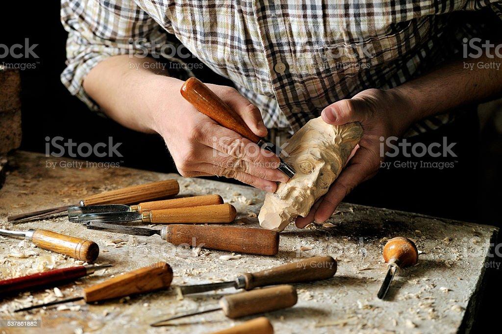 carver creative works in his studio stock photo