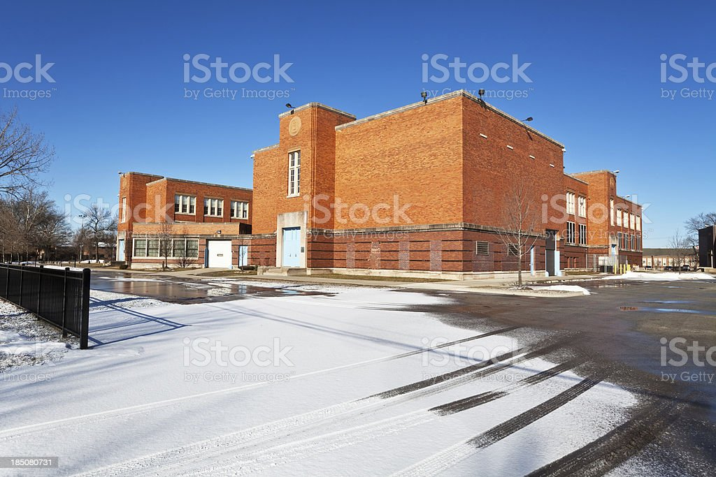 Carver Middle School in Atgeld Gardens, Riverdale, Chicago stock photo