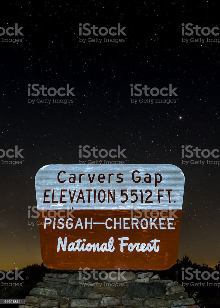 Carvers Gap Sign on Starry Night stock photo