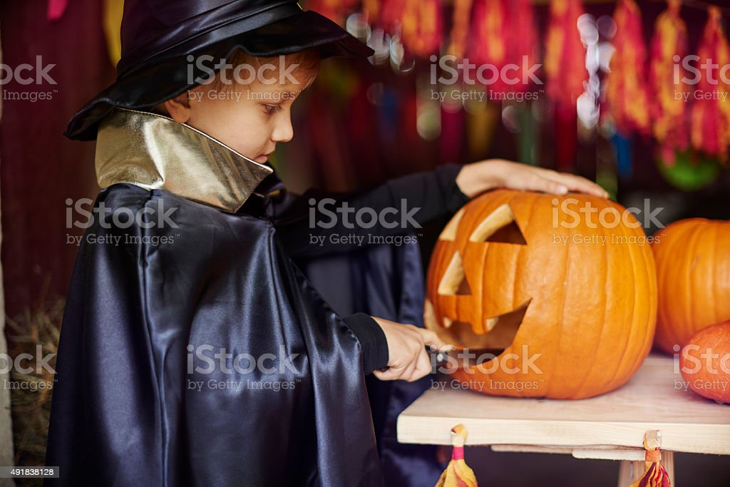 Carving a pumpkin is my new hobby stock photo