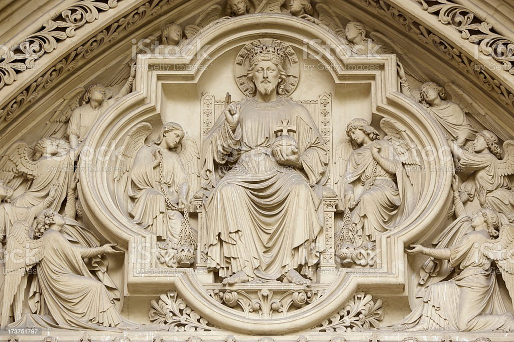 Carving above door on Westminster Abbey, London royalty-free stock photo