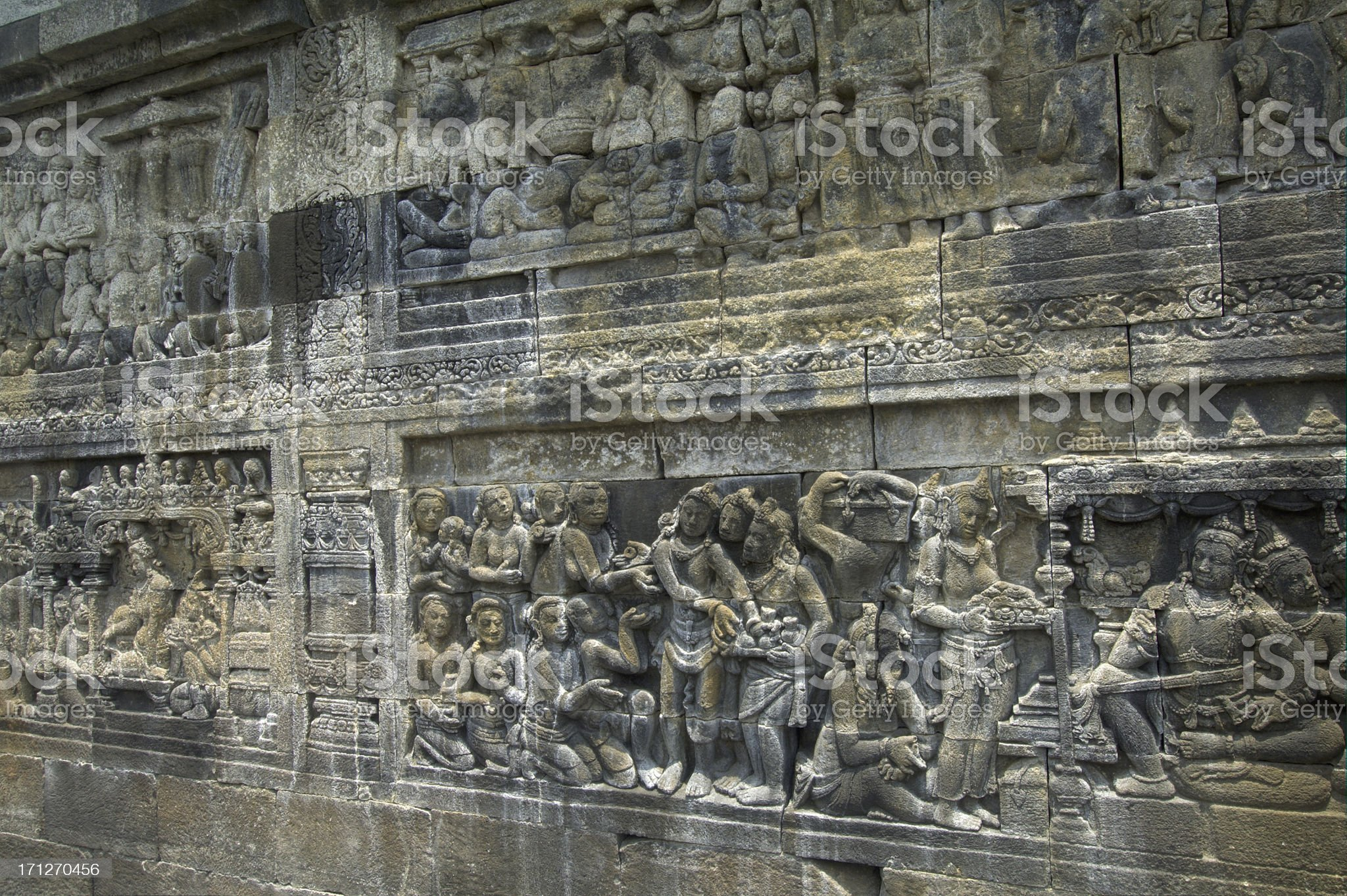 Carving at Borobudur royalty-free stock photo