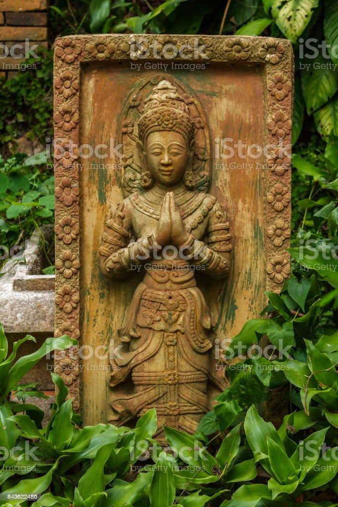 Carving at Wat Pha Lat in Chiang Mai, Thailand stock photo