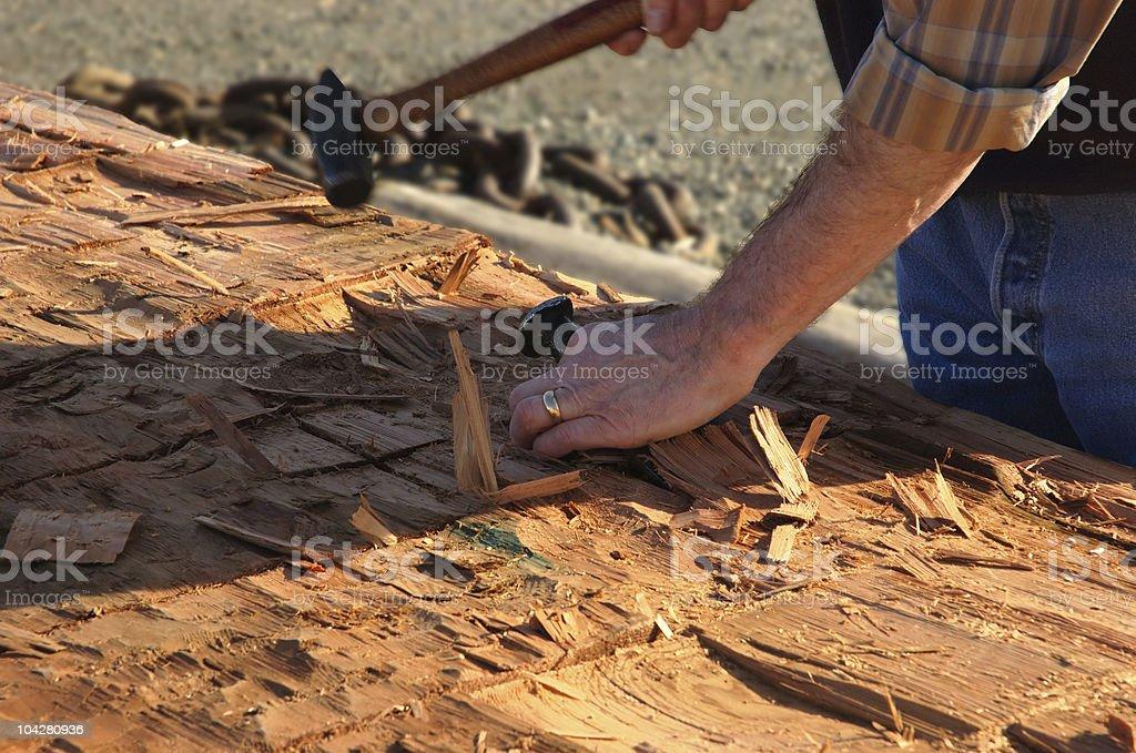Carving Canoe 1 royalty-free stock photo