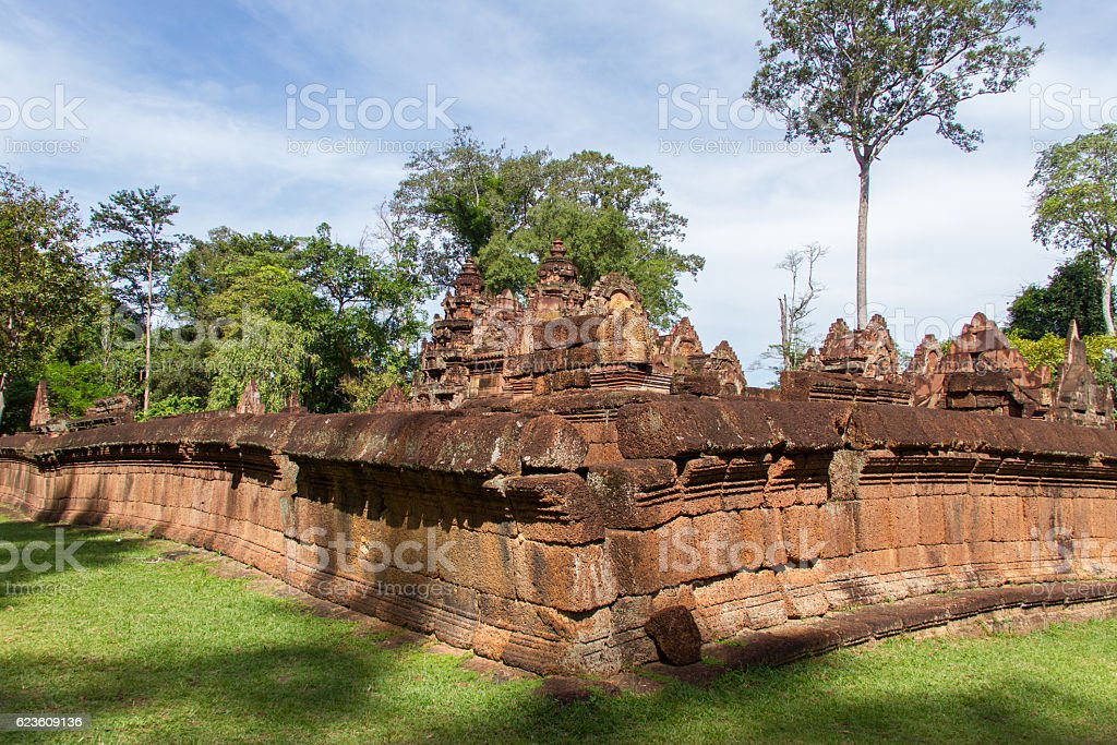 Carving details at Banteay Srei Angkor temple stock photo