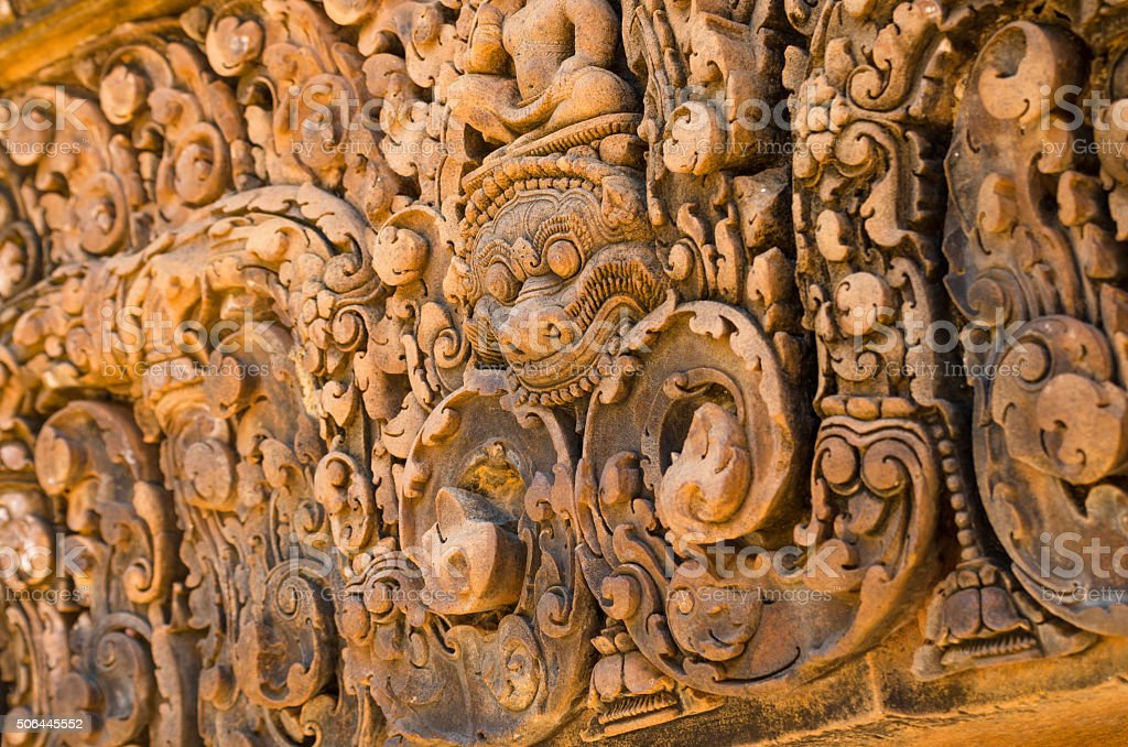 Carving details at Banteay Srei temple stock photo