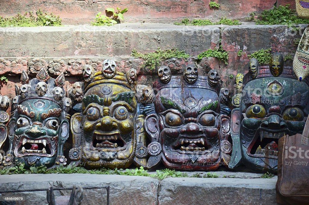Carving Devil Mask nepal style at Kathmandu stock photo