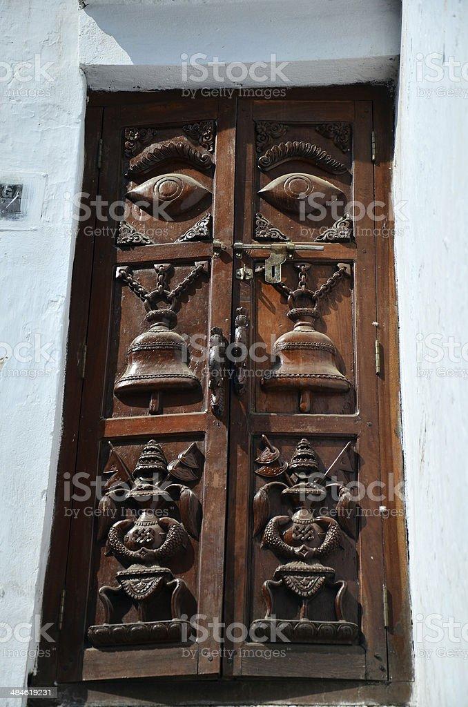 Carving Door nepal Style at Kathmandu stock photo