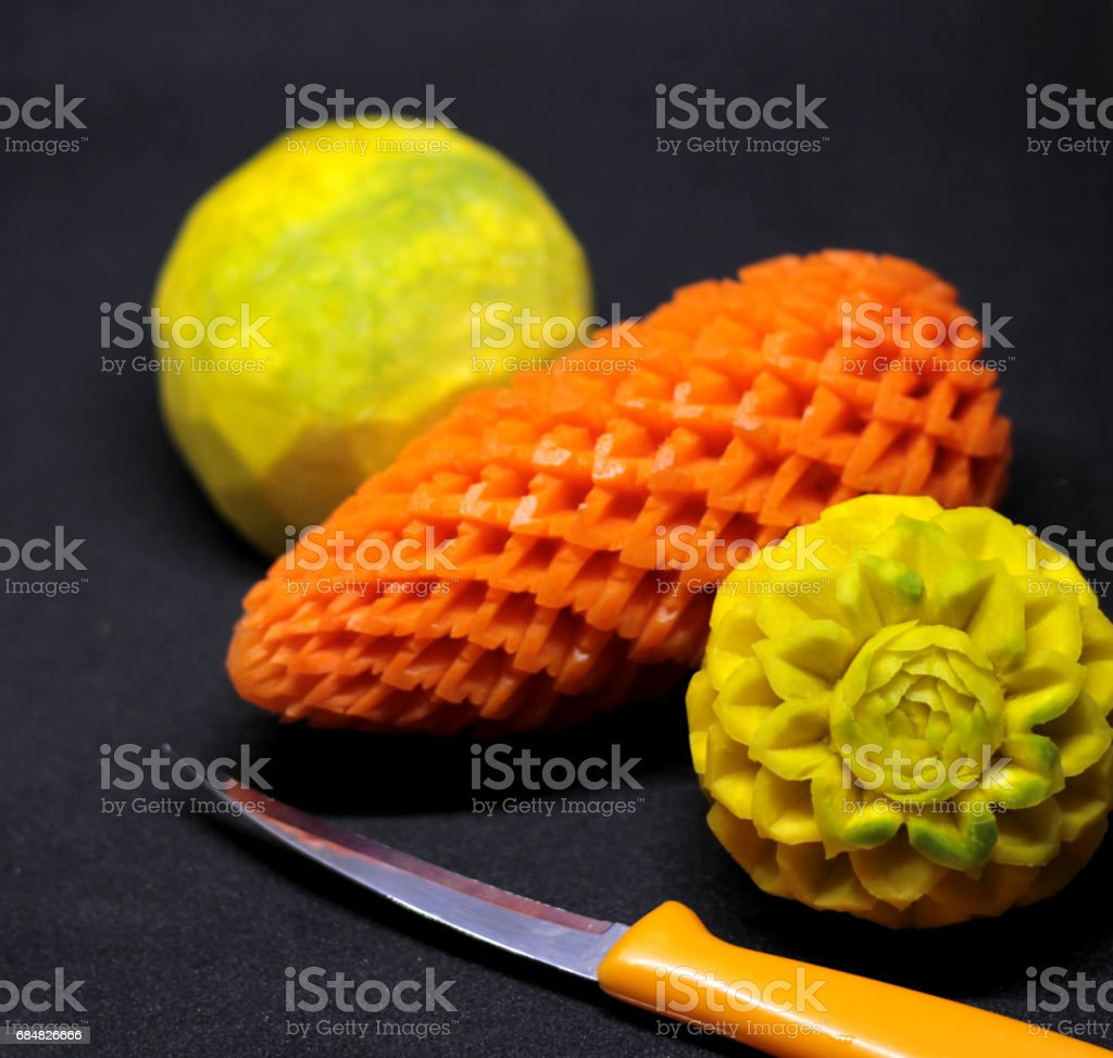 Carving fruit and vegetable,Thai handicraft stock photo