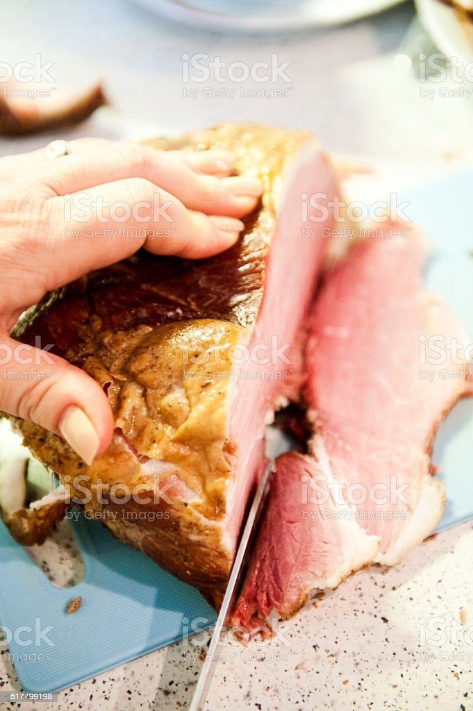 Carving Ham stock photo