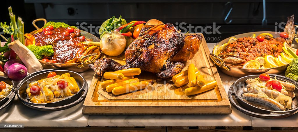 Carving meat station stock photo