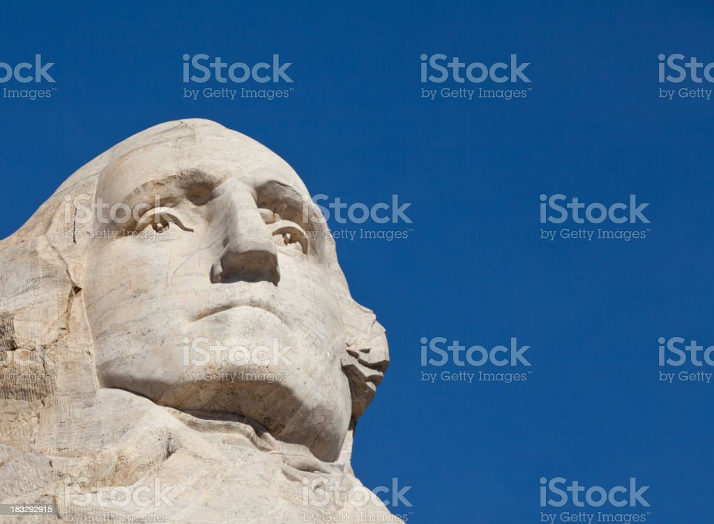 A carving of President George Washington at Mount Rushmore stock photo