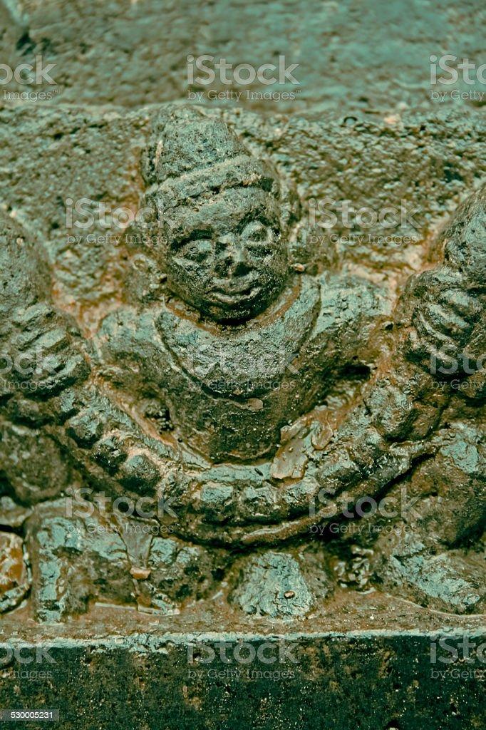 Carving of Yaksha at Shri Bhiravnath Temple stock photo