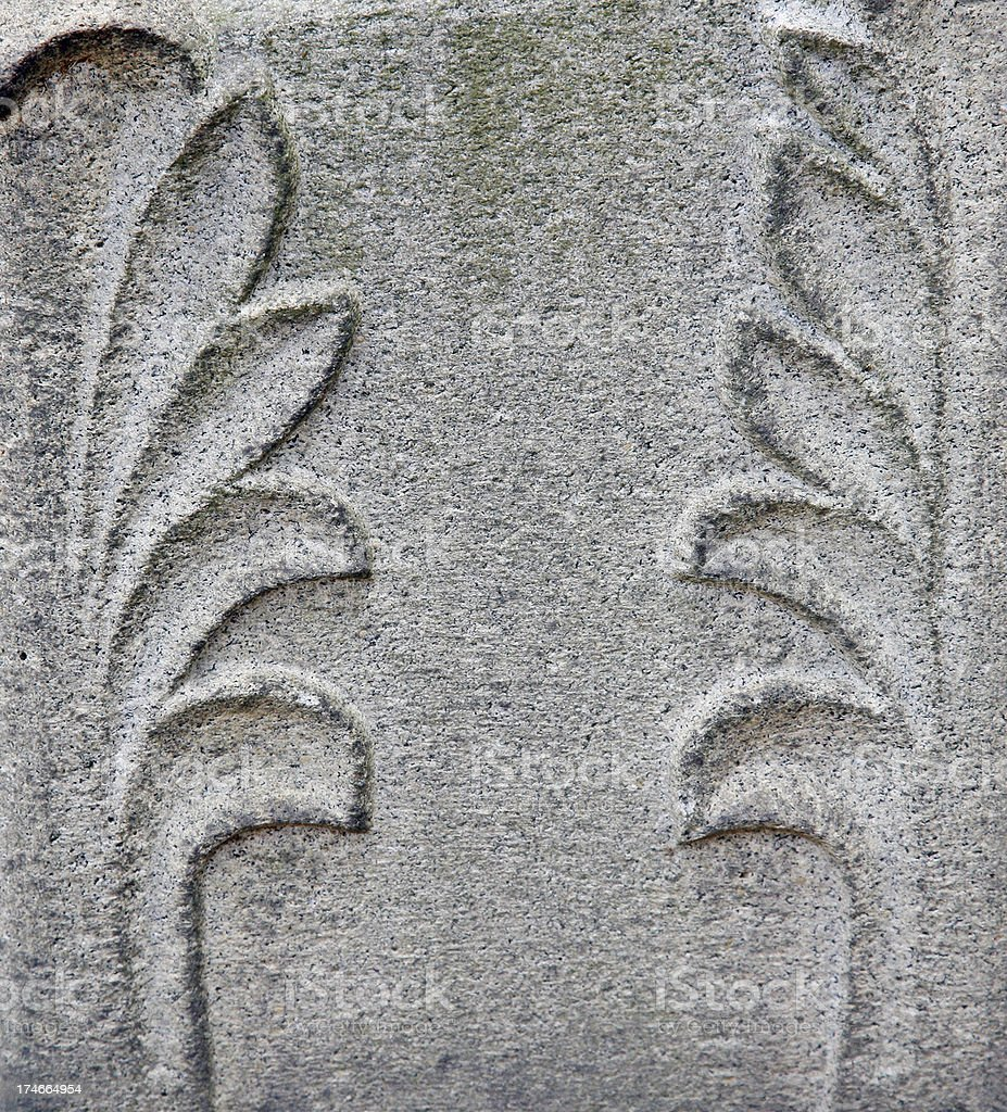 Carving On Old Headstone stock photo