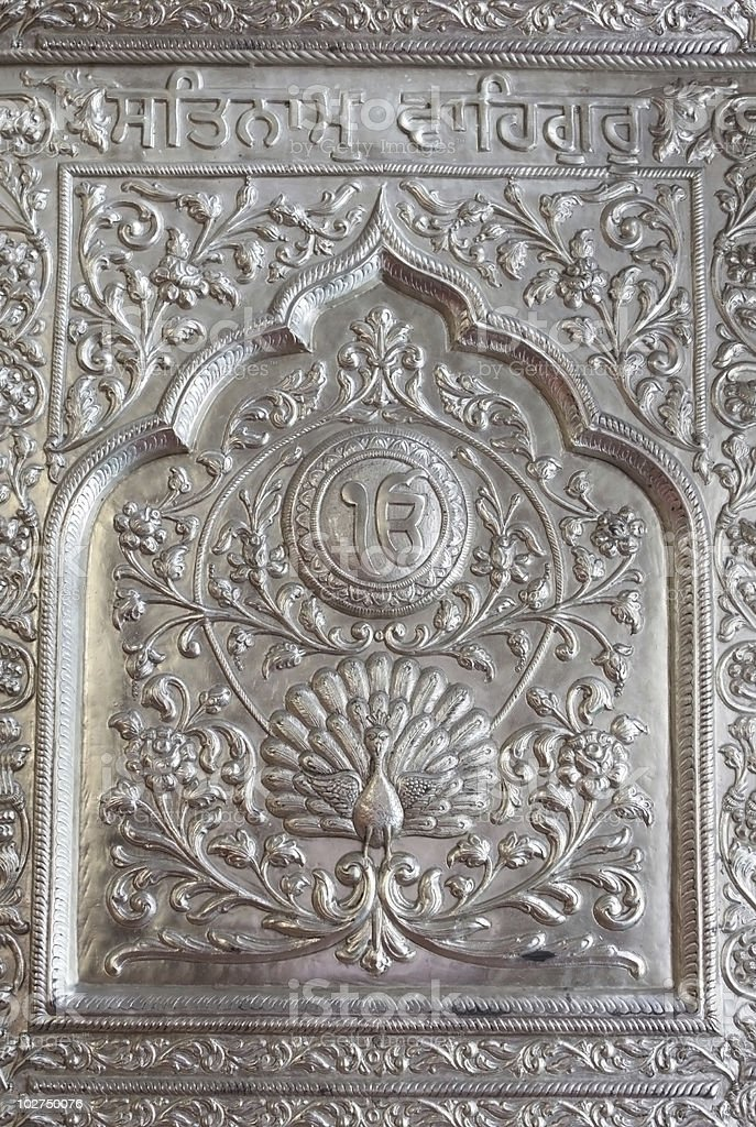 Carving on the door in India royalty-free stock photo