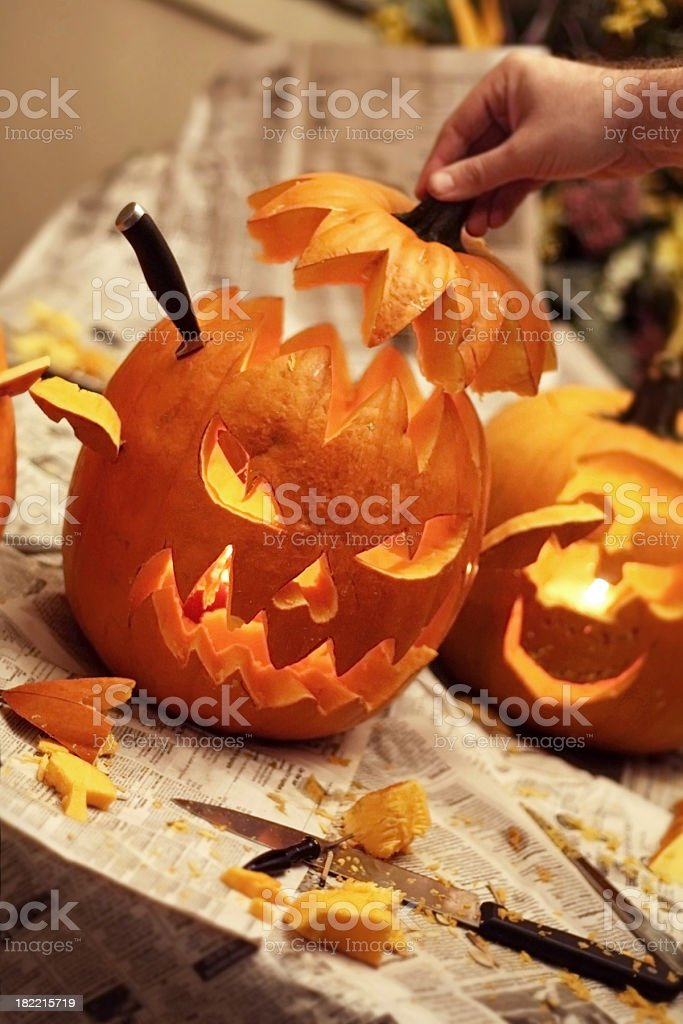 Carving Pumpkins stock photo