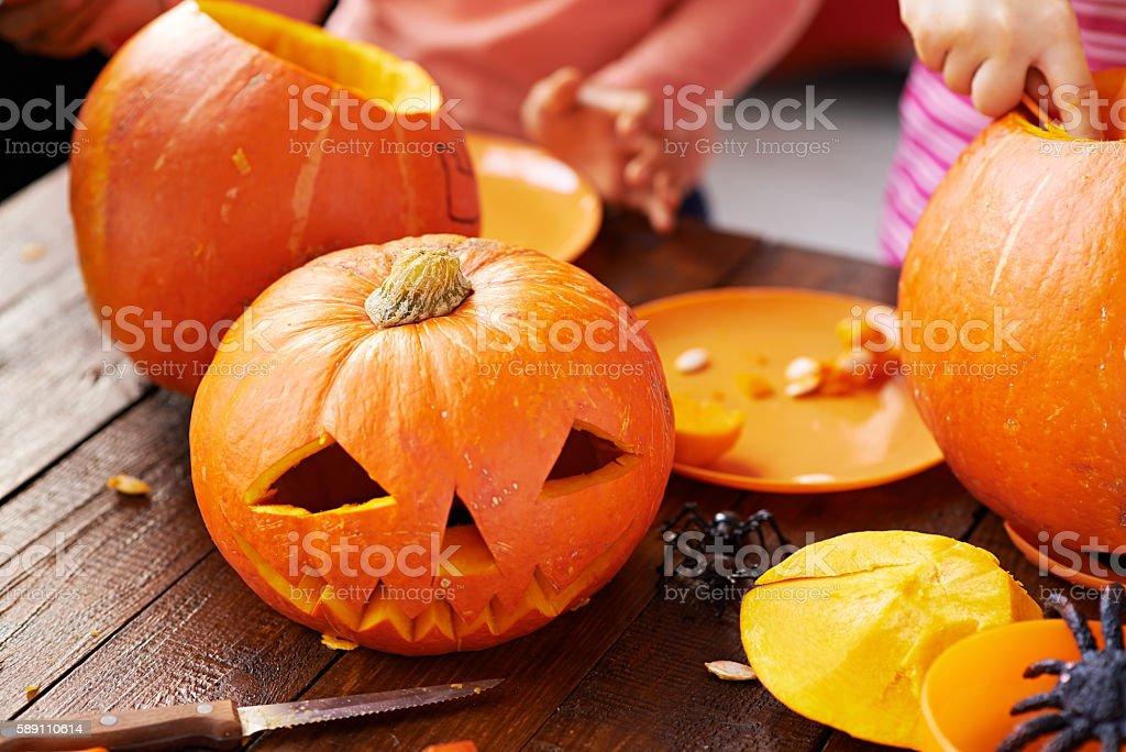 Carving pumpkins stock photo