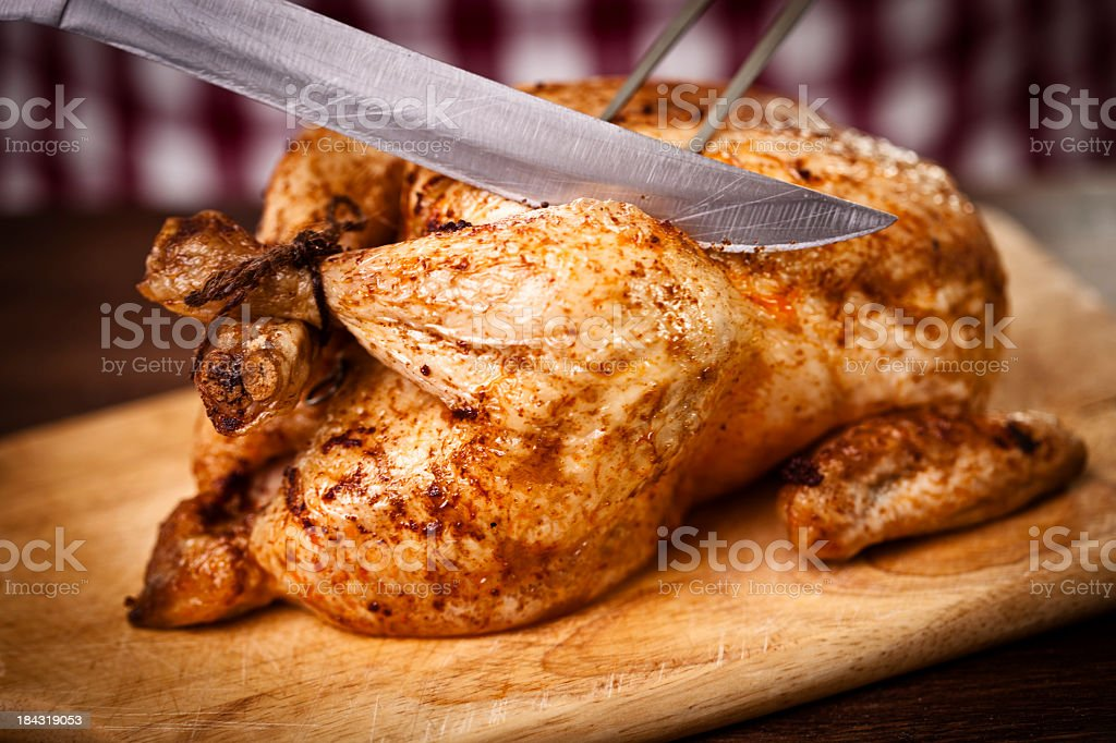 Carving Roast Chicken stock photo