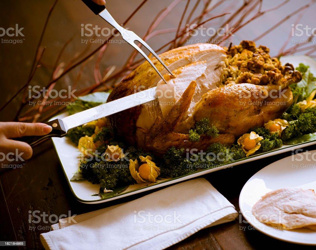 Carving Roast Turkey stock photo