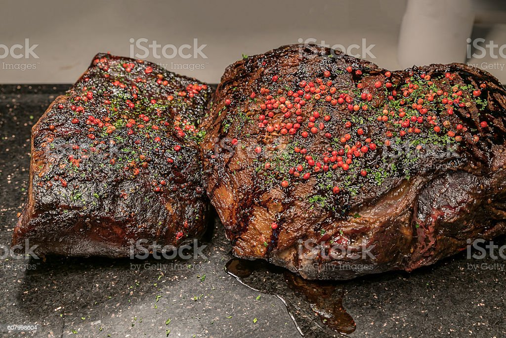 Carving Wagyu beef stock photo