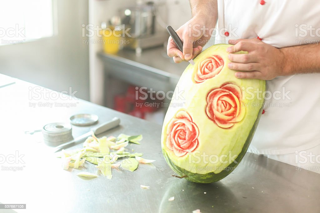Carving watermelon stock photo