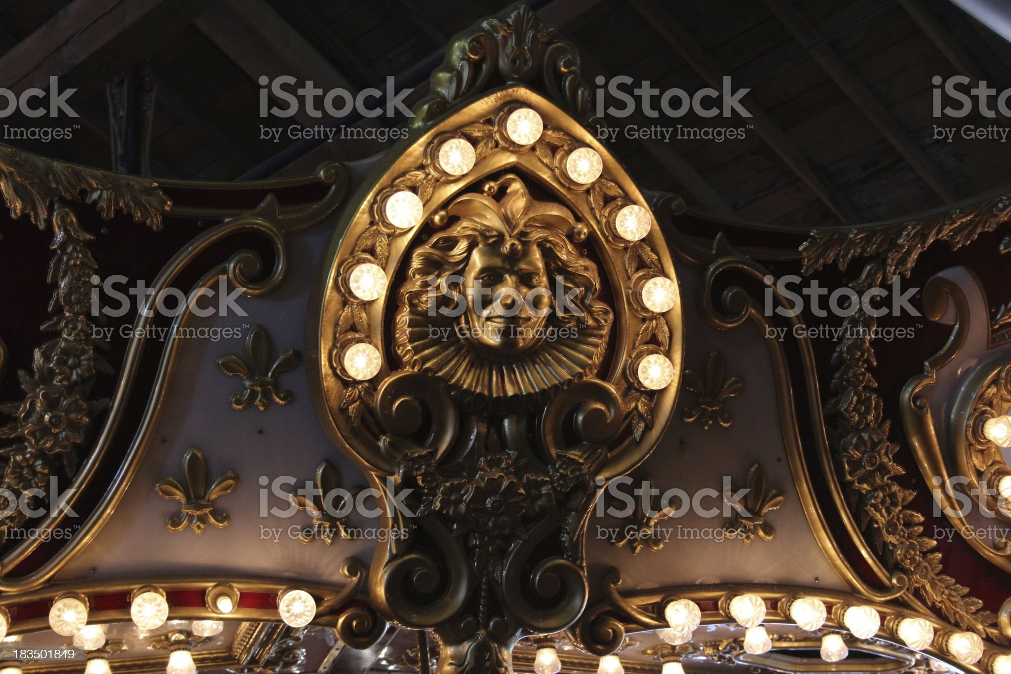 Carving with Lights on Seattle Carousel royalty-free stock photo
