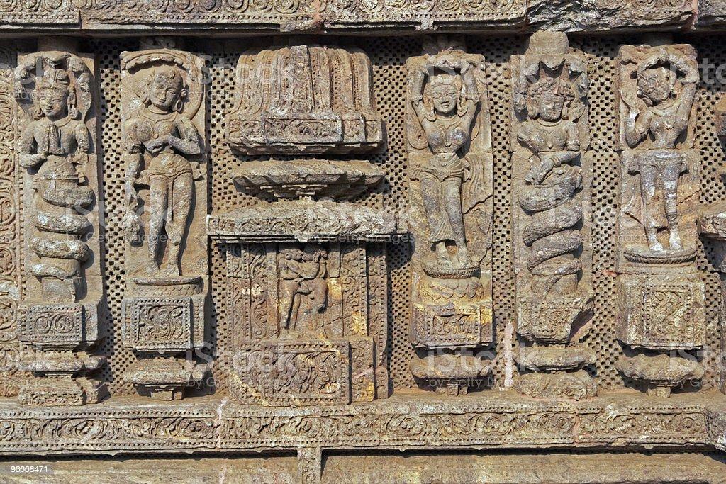 Carvings on Ancient Hindu Temple at Konark royalty-free stock photo