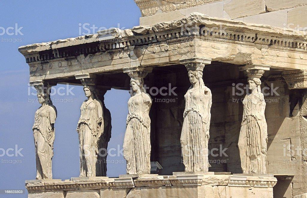 Caryatid in Acropolis, Athens stock photo