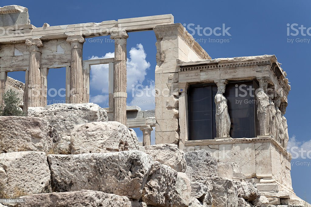 Caryatid Porch of the Erechtheion, Athens, 421–407 BC royalty-free stock photo