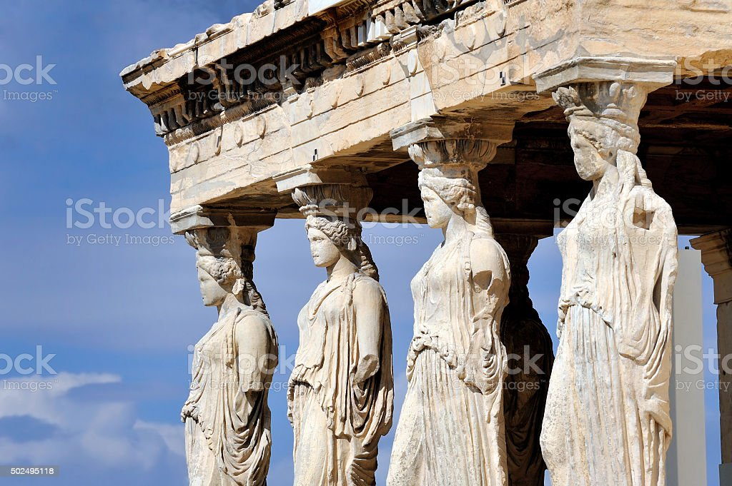Caryatides at Acropolis stock photo