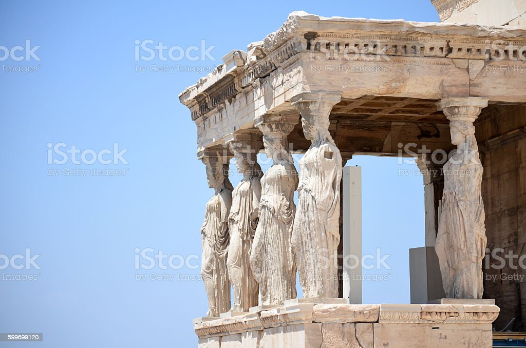 caryatides column details stock photo