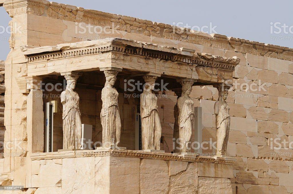 Caryatides, Erechtheion, Acropolis in Athens, Greece. stock photo