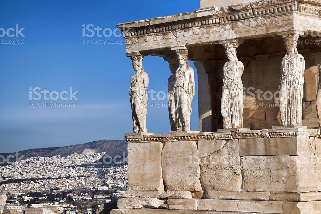 Caryatides in Acropolis, Athens, Greece stock photo