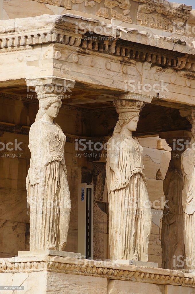 Caryatides of Erechtheion, Acropolis in Athens, Greece. stock photo