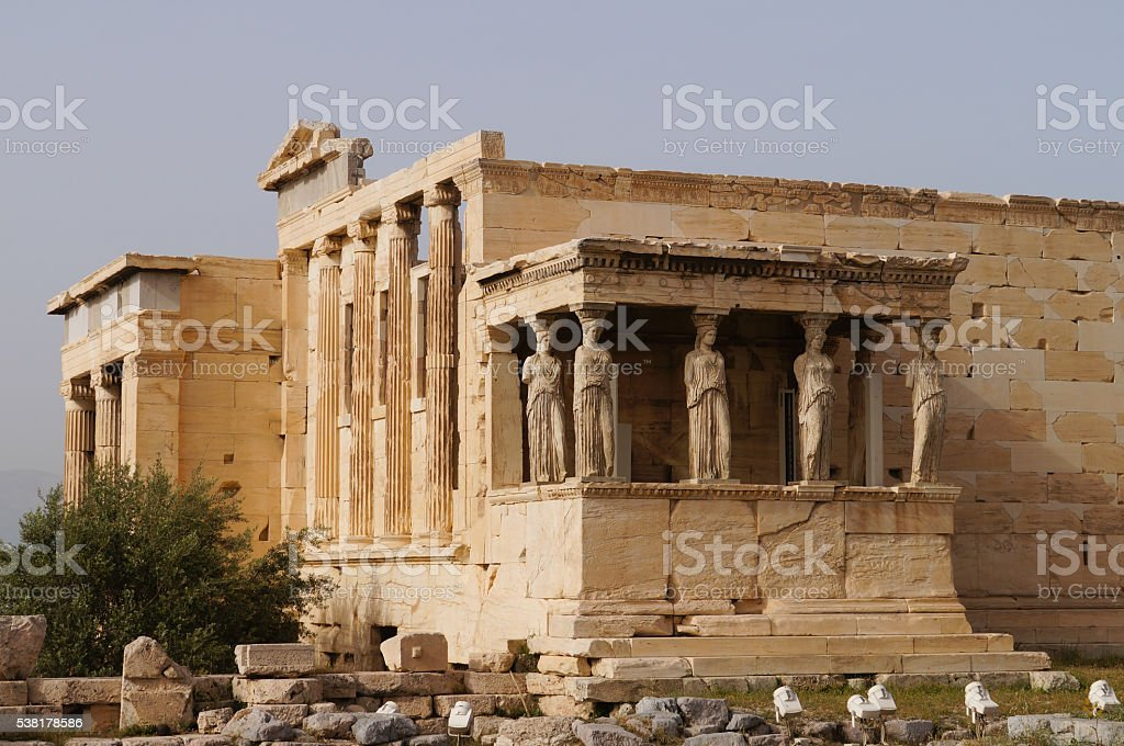 Caryatides of Erechtheion at Acropolis in Athens, Greece. stock photo