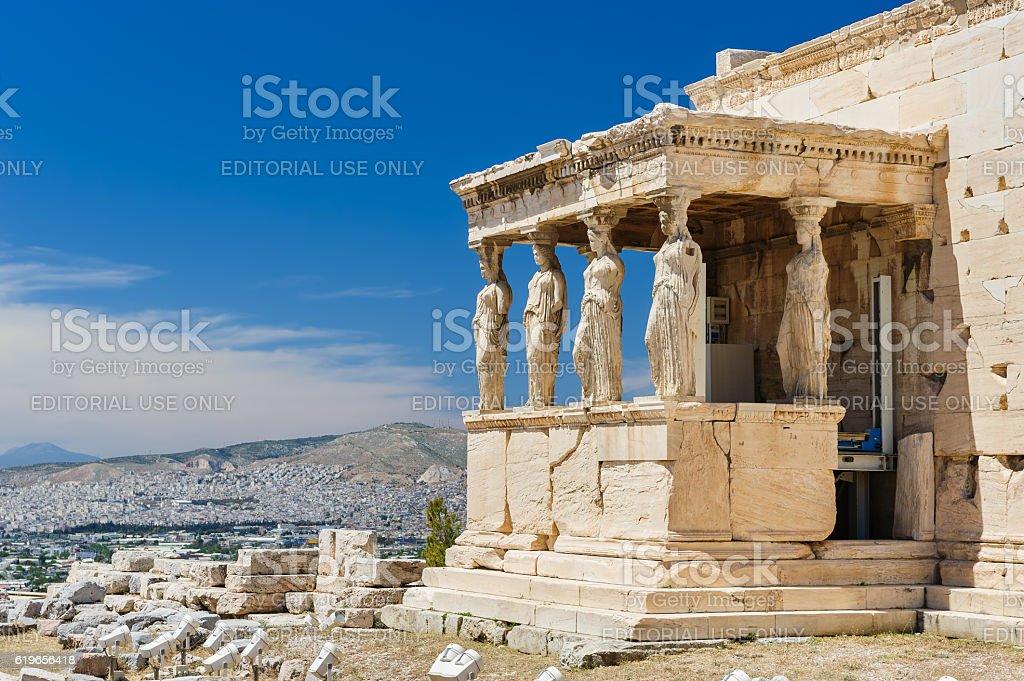 Caryatids at Porch of the Erechtheion, Acropolis stock photo